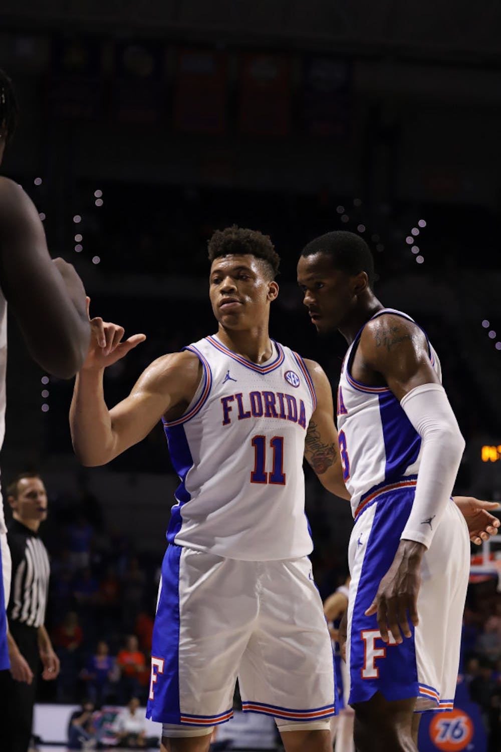 <p>Junior Keyontae Johnson (left) and sophomore Scottie Lewis (right) at the Gators' game against Arkansas last season. They are among Florida's returning defensive leaders this season.</p>