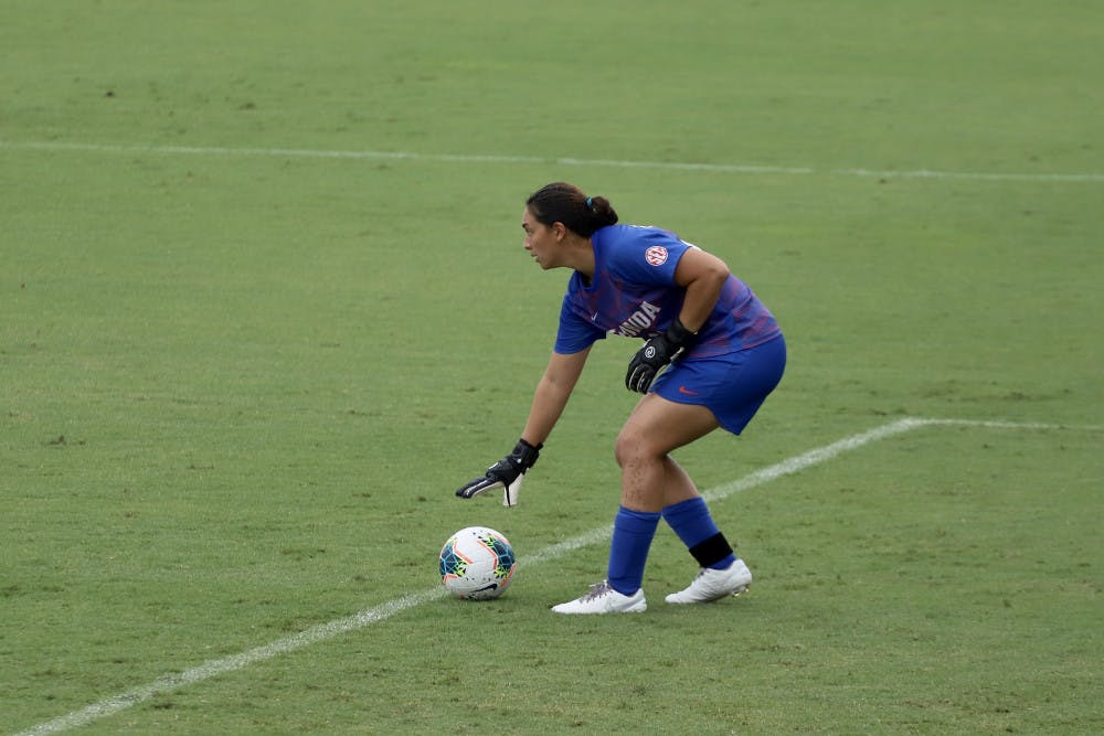 """<p><span id=""""docs-internal-guid-8c4ff906-7fff-4c62-b8f7-d20b64e4d443""""><span>UF goalkeeper Susi Espinoza puts down a goal kick in Florida's win against Georgia. She had four saves over the course of the game.</span></span></p>"""