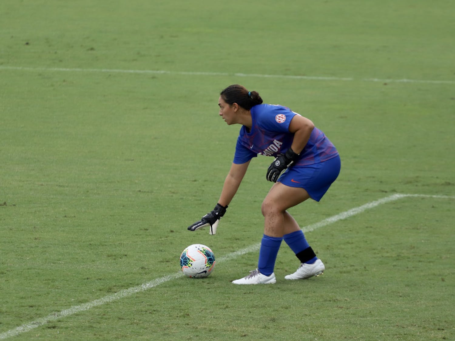 UF goalkeeper Susi Espinoza puts down a goal kick in Florida's win against Georgia. She had four saves over the course of the game.