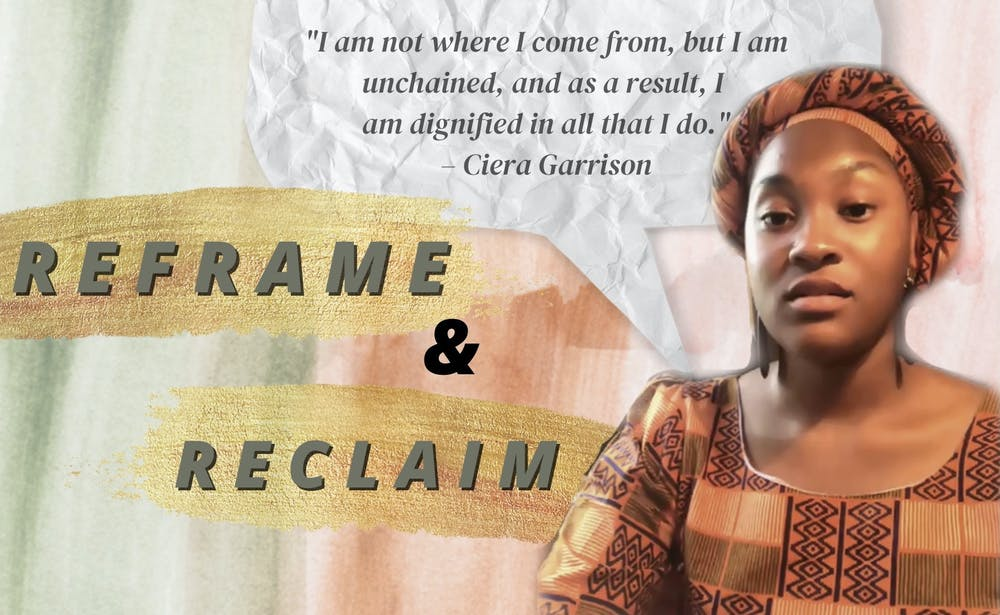 """<p>Ciera Garrison, a 23-year-old fourth-year sociology major at UF, was a guest speaker at the virtual &quot;Reframe and Reclaim&quot; event Wednesday. She read her piece &quot;Unchained&quot; at the event, which represents the art of being free from """"past trauma,"""" """"toxic exposure"""" and """"mental bondage.&quot;</p>"""