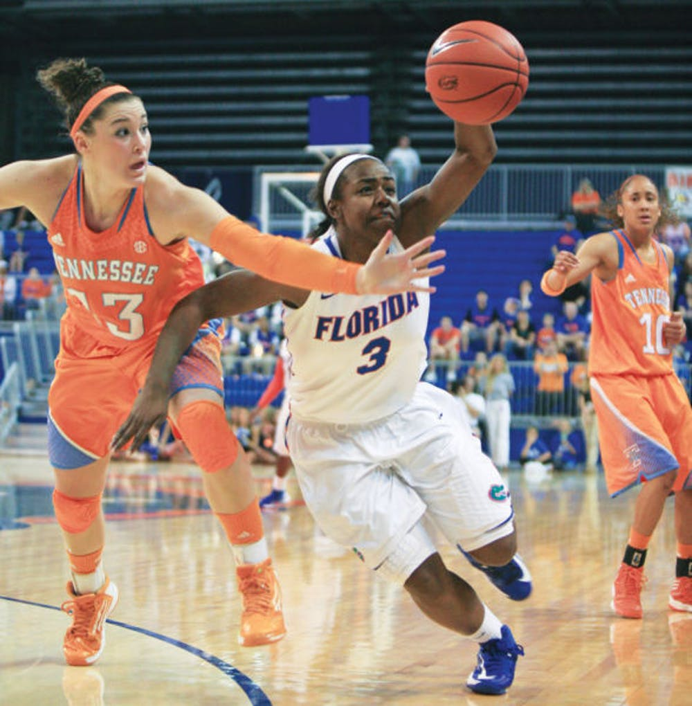 <p><span>Guard January Miller (3) fights for possession with guard Taber Spani (13) during Florida's 78-75 overtime loss to Tennessee on Sunday in the O'Connell Center.</span></p> <div><span><br /></span></div>