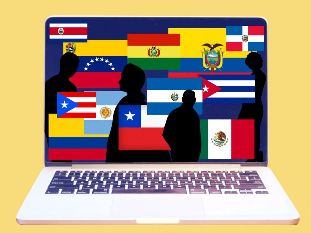 Graphic of a laptop displaying people silhouettes and flags of Hispanic and Latin countries