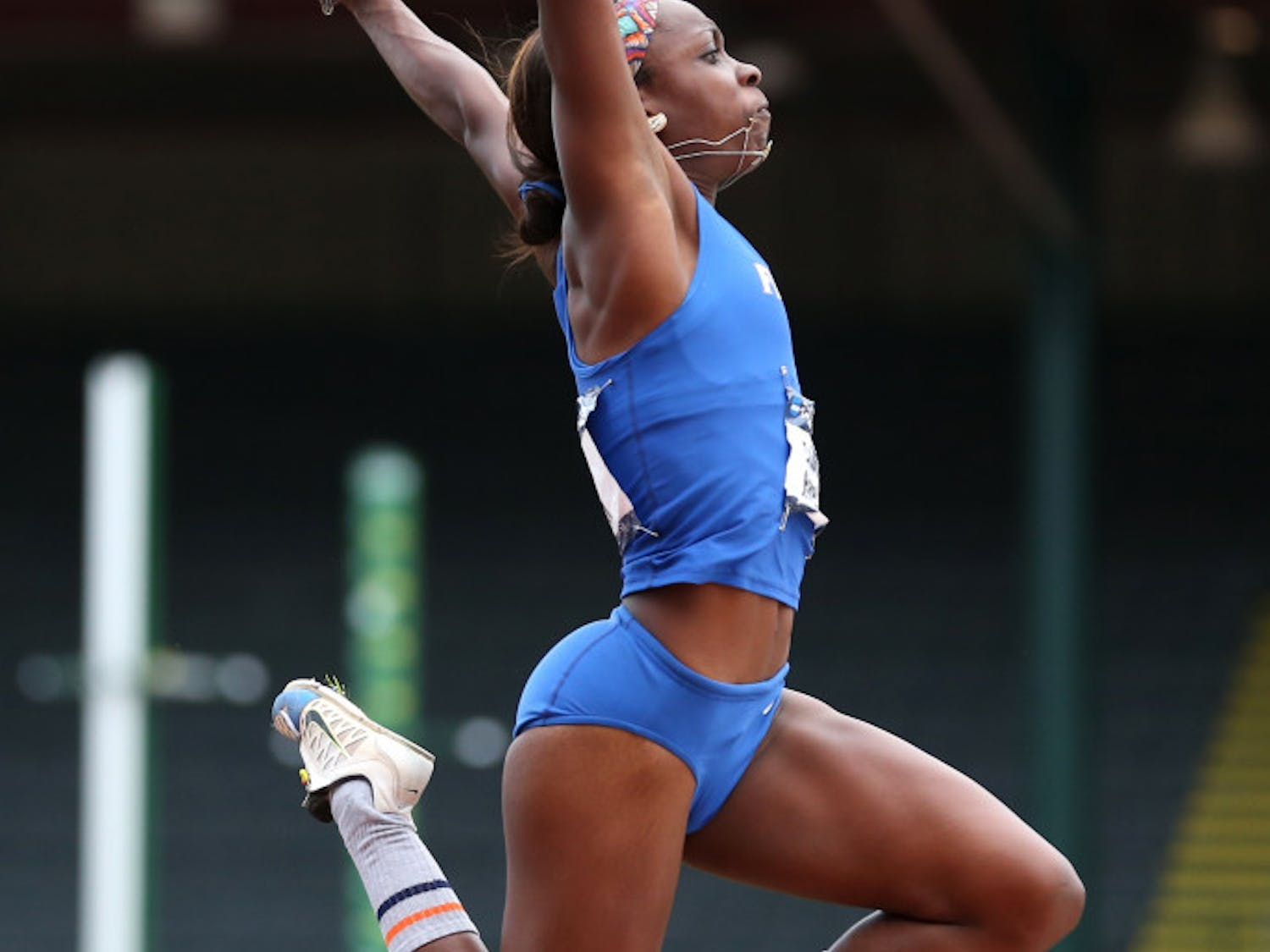 Florida's Brittany Harrell competes in the heptathlon long jump at the NCAA track and field championships on Friday.