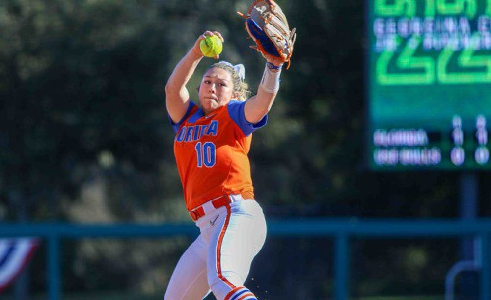 <p>Natalie Lugo threw her first solo complete-game shutout in Wednesday night's win over Jacksonville.</p>