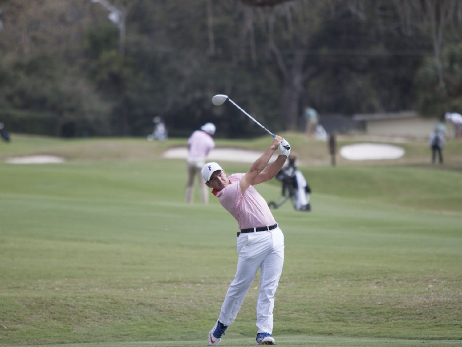 Alejandro Tosti hits a shot during the day one of the SunTrust Gator Invitational on Feb. 18, 2017, at the Mark Bostick Golf Course.