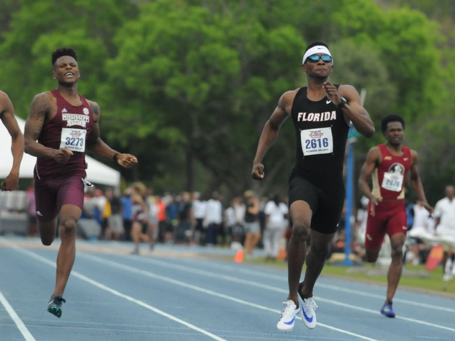 UF sprinter Kunle Fasasi races in the 400-meter dash during the Florida Relays on April 1, 2016, at the Percy Beard Track.