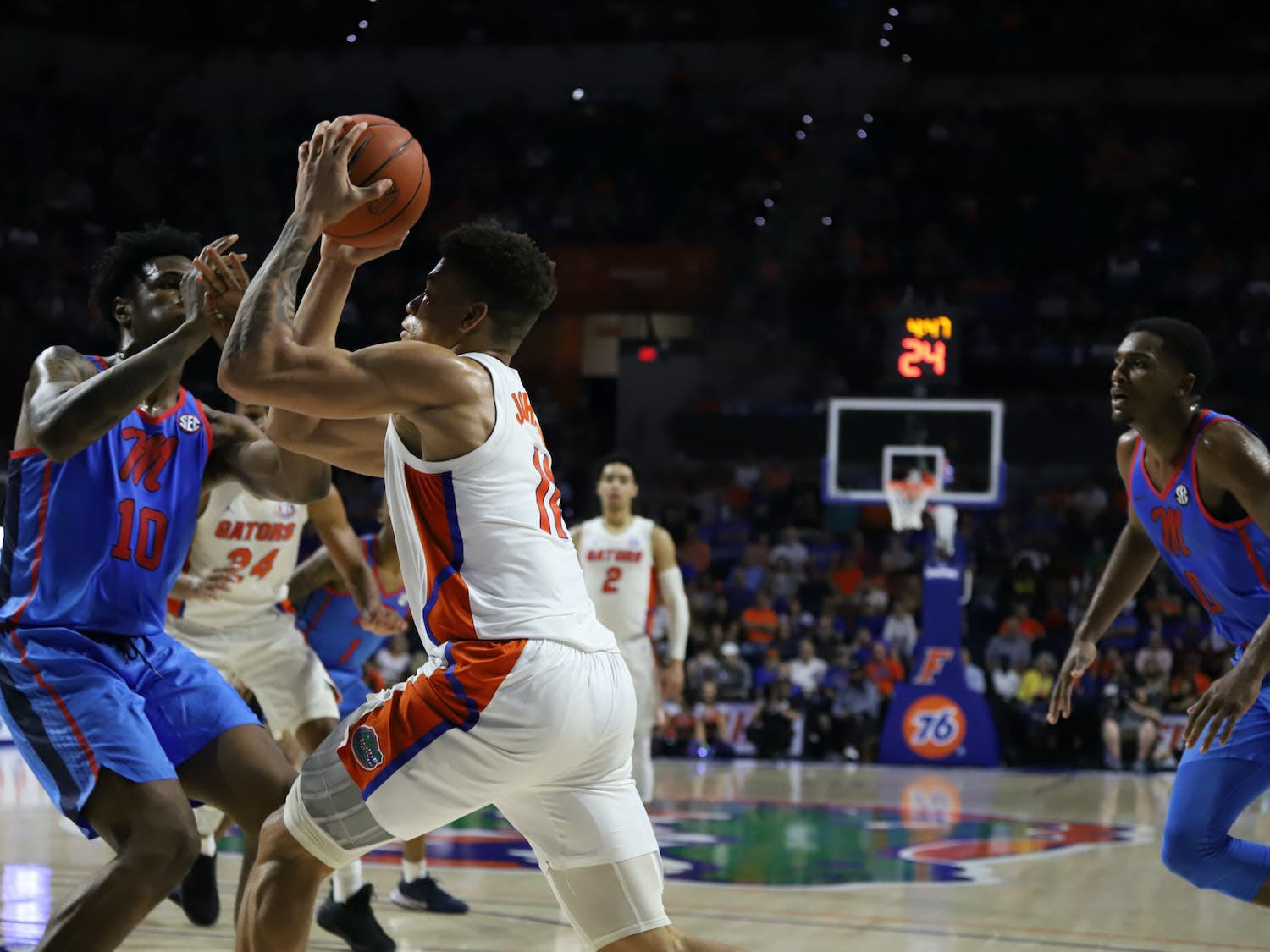 Florida is 2-0 after returning to the court following star junior forward Keyontae Johnson's collapse Dec. 12. Photo from Florida-Ole Miss game in January 2020.