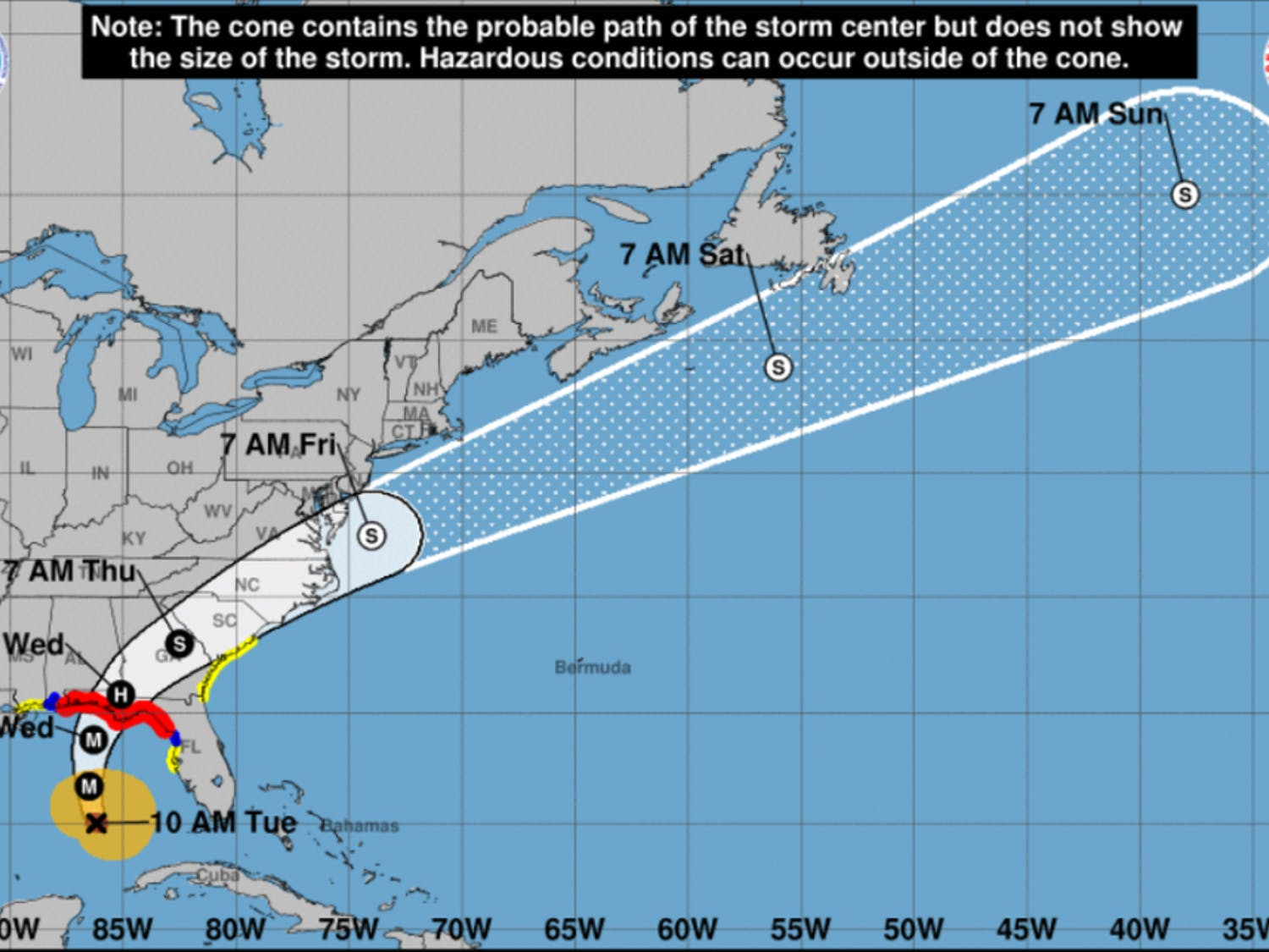 The hurricane's projected path as of 10 a.m. on Tuesday, according to the National Hurricane Center.