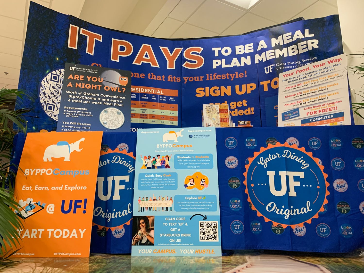 Signage posted by the University of Florida advertising Gator Dining meal plans on the third floor of the Reitz Union at UF's Gainesville campus on Sunday, Aug. 15, 2021.