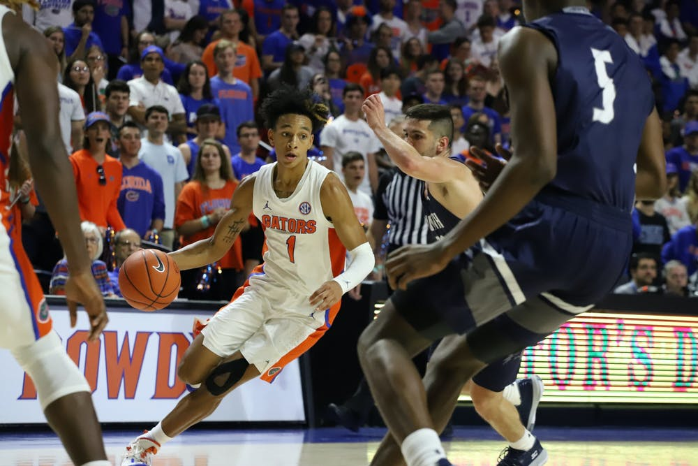 <p>Gators guard Tre Mann finished with 17 points and eight rebounds, willing Florida to a comeback victory on Tuesday against Ole Miss</p>