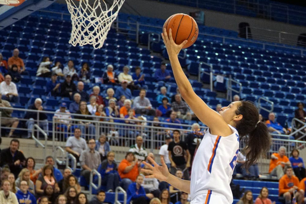 <p>UF guard Eleanna Christinaki goes for a layupduring Florida's 53-45 win against LSU on Jan. 17, 2016, in the O'Connell Center.</p>