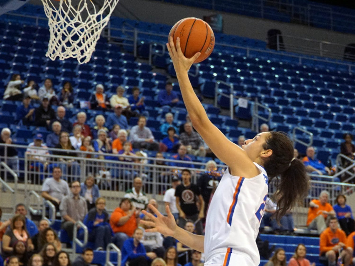 UF guard Eleanna Christinaki goes for a layupduring Florida's 53-45 win against LSU on Jan. 17, 2016, in the O'Connell Center.