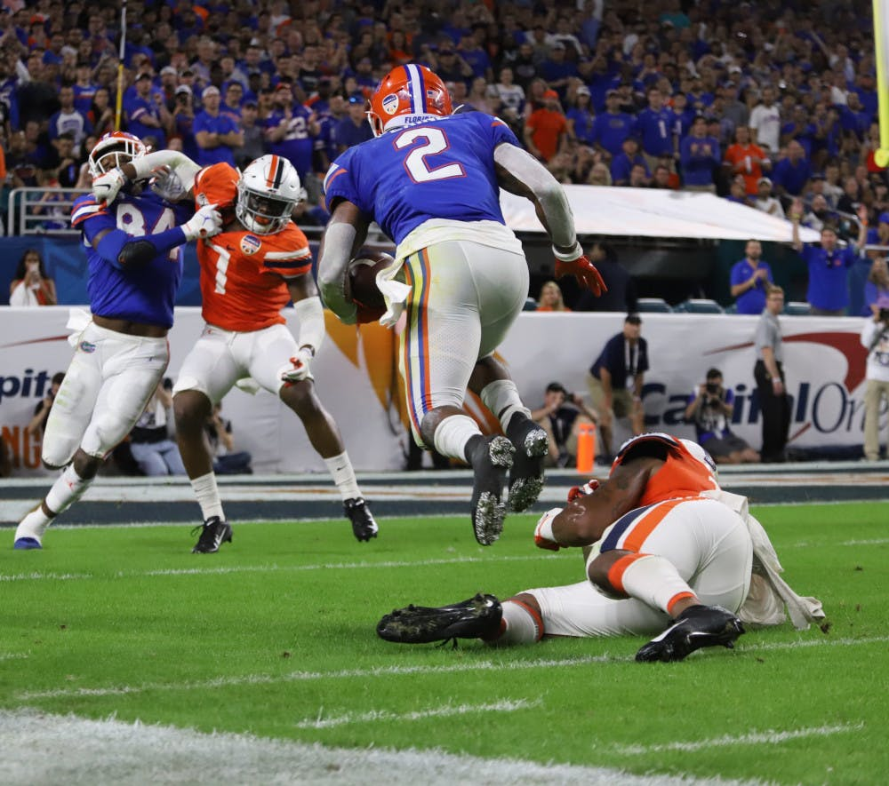 <p>Lamical Perine had a season-high 138 yards rushing in the Orange Bowl.</p>