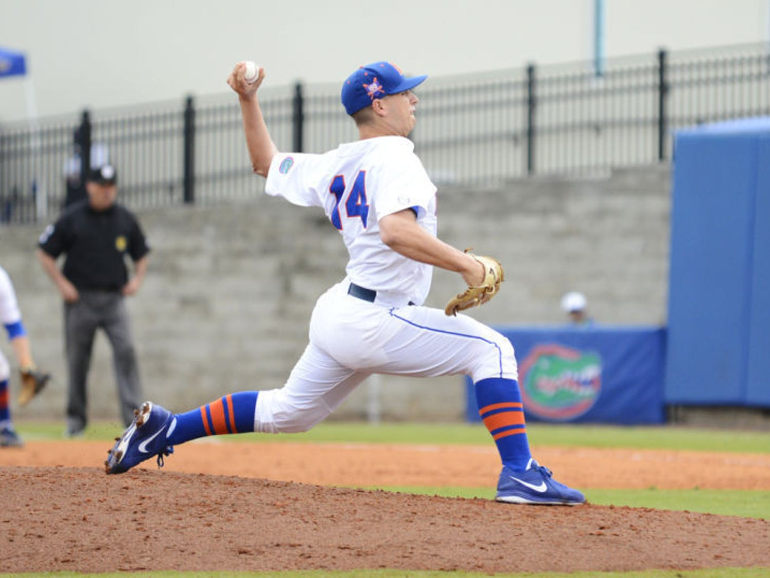 Bobby Poyner pitches during Florida's 3-2 victory against Georgia on Saturday at McKethan Stadium. Poyner has a 3.99 ERA in 19 appearances in 2014.