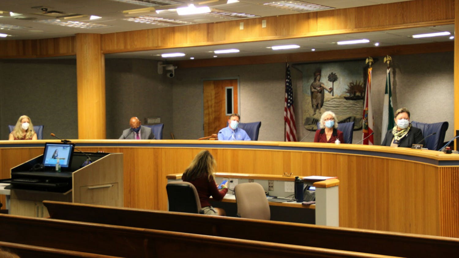 """The Alachua County Commissioners are seen at the John R. """"Jack"""" Durrance Auditorium on Nov. 17, 2020."""