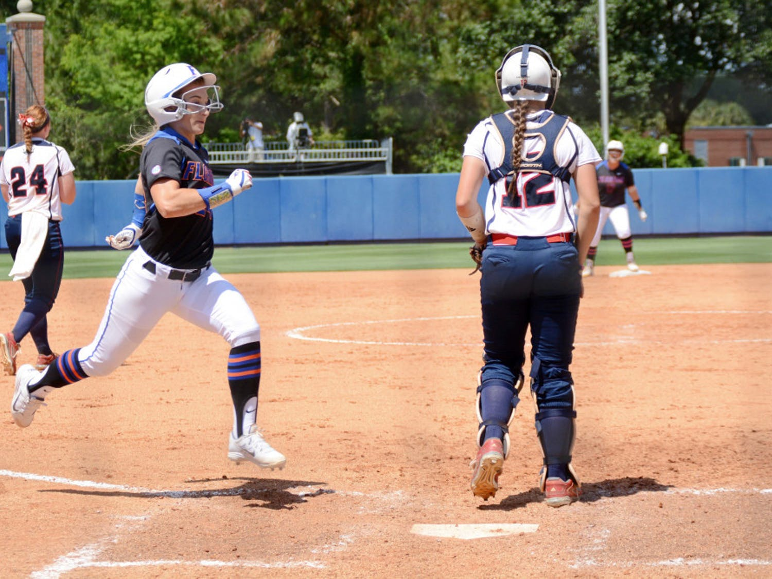 UF's Kirsti Merritt crosses home plate to score the lone run of the game in the eighth inning of Florida softball's 1-0 win against Florida Atlantic during the NCAA Regional finals on May 17, 2015, at Katie Seashole Pressly Stadium.