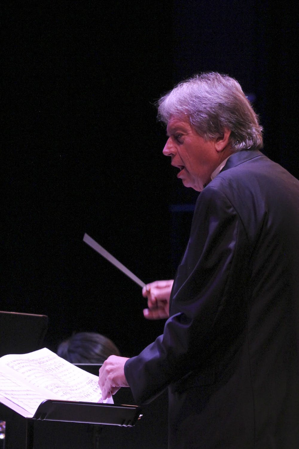<p>Steven Bingham conducts the Santa Fe wind and percussion ensemble at the ninth annual Winds and the Classics concert in the Santa Fe College fine arts hall Oct. 1, 2015. The ensembles played a variety of songs including the Washington Post March, America the Beautiful and a tribute to David Gorham.</p>