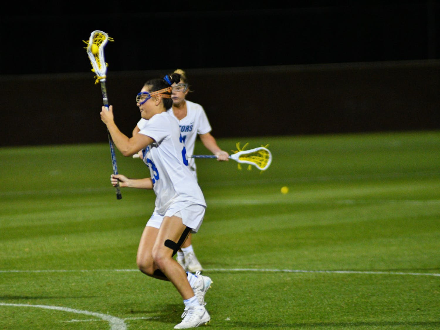 UF midfielder Madi Hall scored four goals in Florida's 22-11 win over Brown on Tuesday at Donald R. Dizney Stadium.