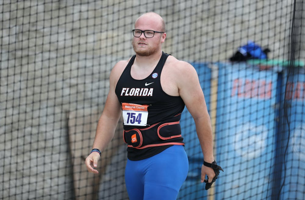 Florida's Thomas Mardal during the Tom Jones Invitational on Saturday, April 17, 2021 at Percy Beard Track at James G. Pressly Stadium in Gainesville, Fla. / UAA Communications photo by Isabella Marley