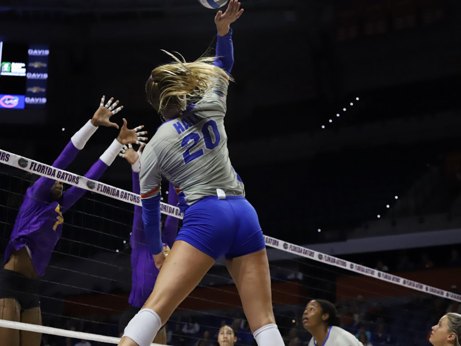 Outside hitter Thayer Hall at UF's game against LSU last season. Hall combined with redshirt senior T'ara Ceasar for 20 of the Gators' 33 kills Wednesday night against Auburn.