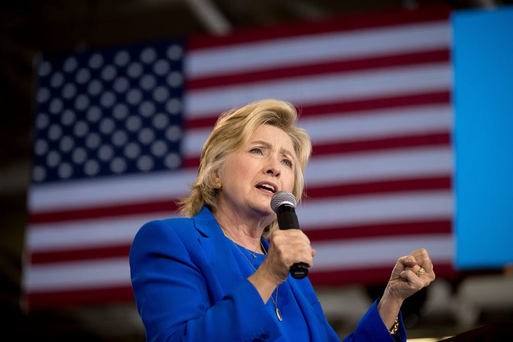 <p>Democratic presidential candidate Hillary Clinton speaks at a rally at Johnson C. Smith University in Charlotte, N.C., Thursday, Sept. 8, 2016.</p>
