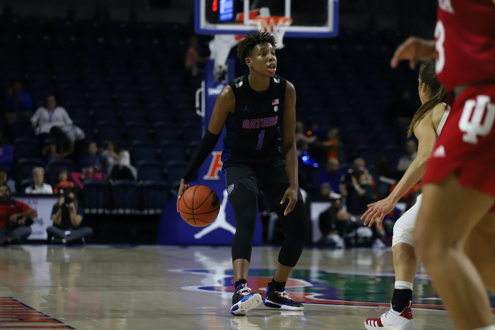 <p>Guard Kiara Smith pulled up to tie the game during the first quarter. Photo is from the Florida-Indiana game in November 2019.</p>