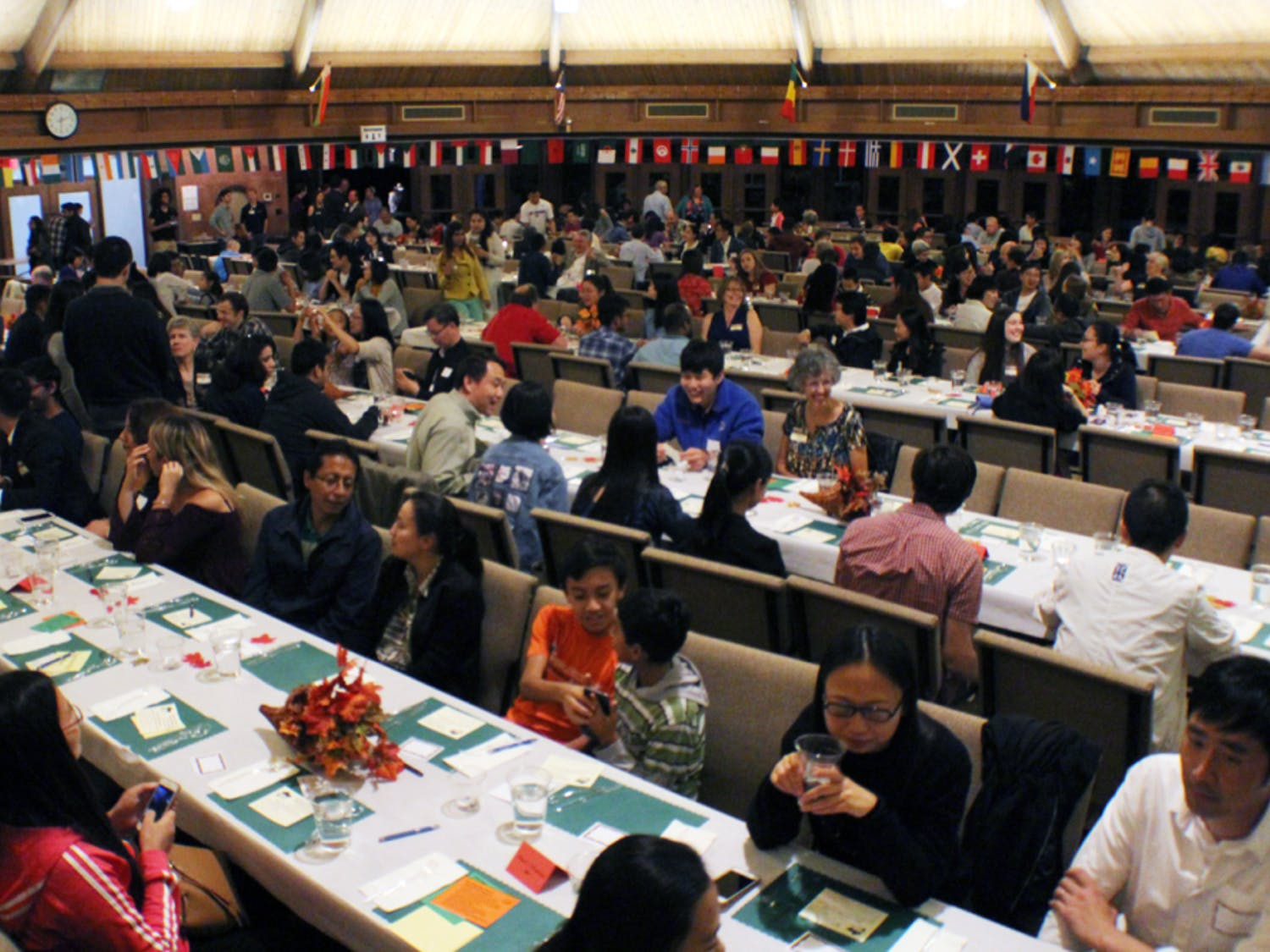 The sanctuary at Creekside Community Church, located at 2640 SW 39th Ave., is packed to the brim for the Thanksgiving Banquet for Internationals on Saturday. International students and scholars from UF were invited to share a Thanksgiving meal.