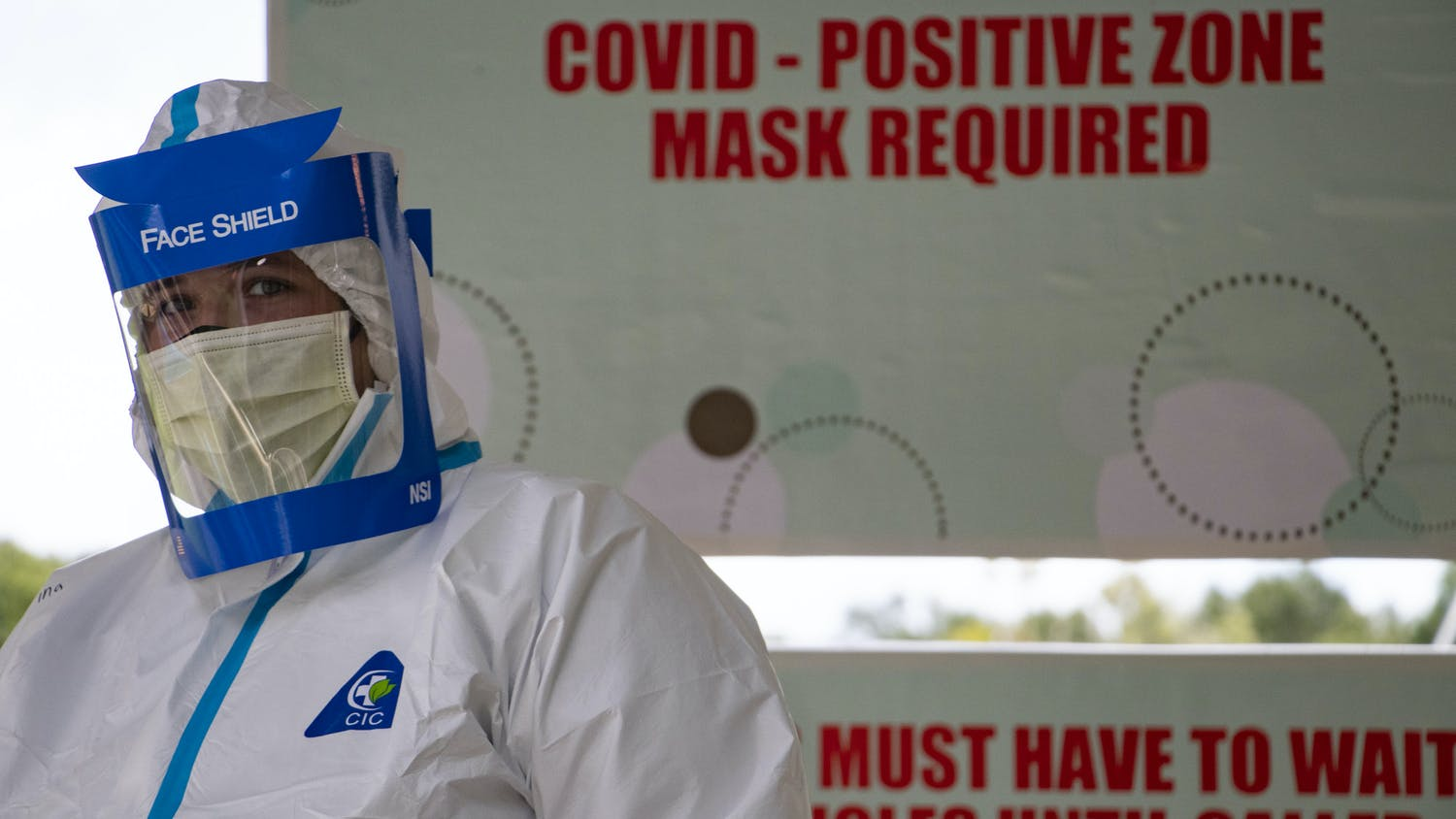 A worker is seen at the Alachua County monoclonal antibody site at the Fellowship Church in High Springs, Florida on Wednesday, Sept. 15, 2021.