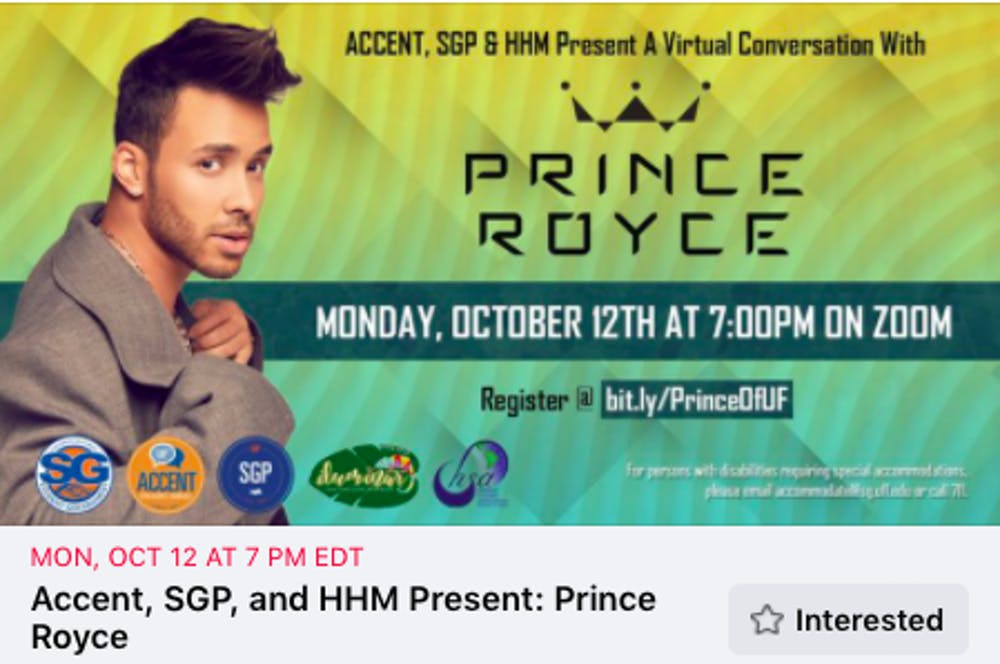 """<p dir=""""ltr""""><span>Prince Royce is scheduled speak at a virtual event hosted by UF Hispanic Heritage Month, Accent Speakers Bureau and Student Government Productions.&nbsp;</span></p> <p><span>&nbsp;</span></p>"""