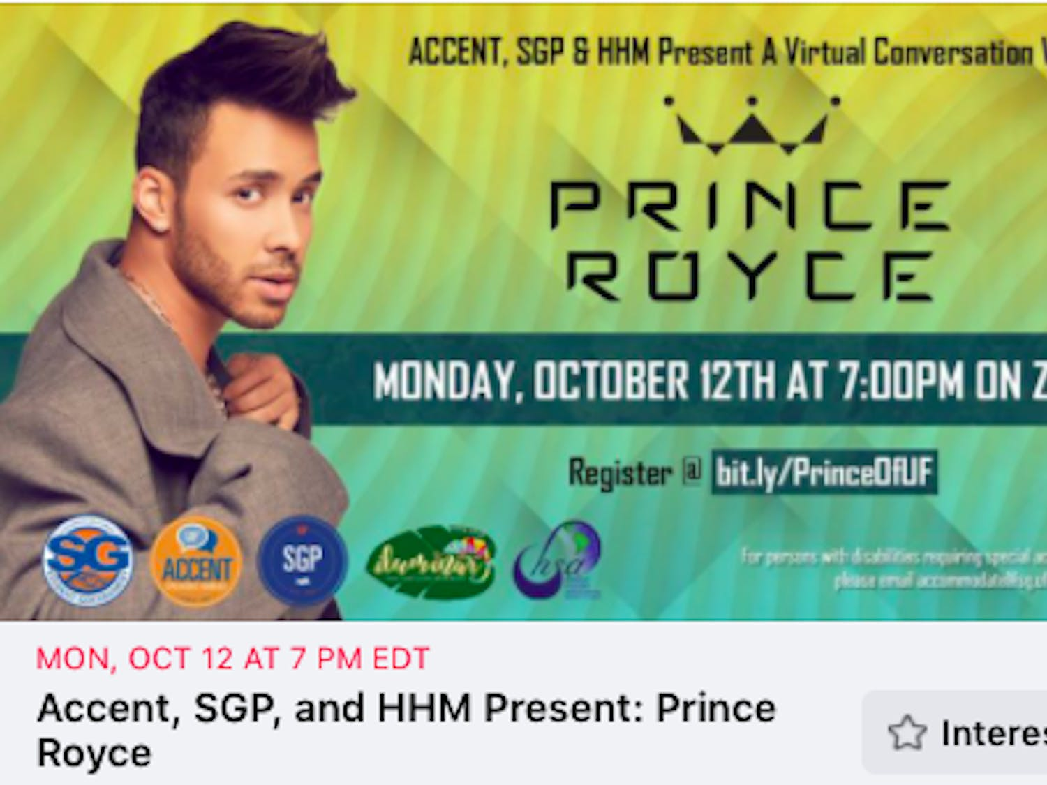 Prince Royce is scheduled speak at a virtual event hosted by UF Hispanic Heritage Month, Accent Speakers Bureau and Student Government Productions.