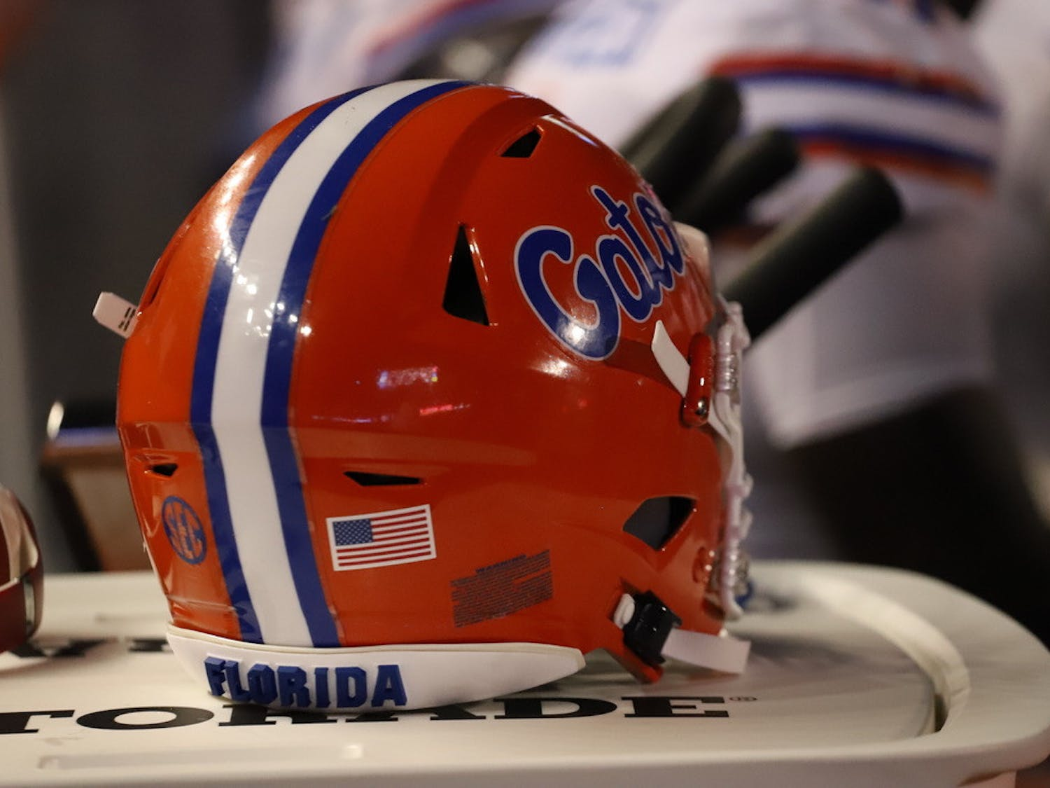 A Florida football helmet, pictured during a game against Florida Atlantic on Sept. 4, 2021.