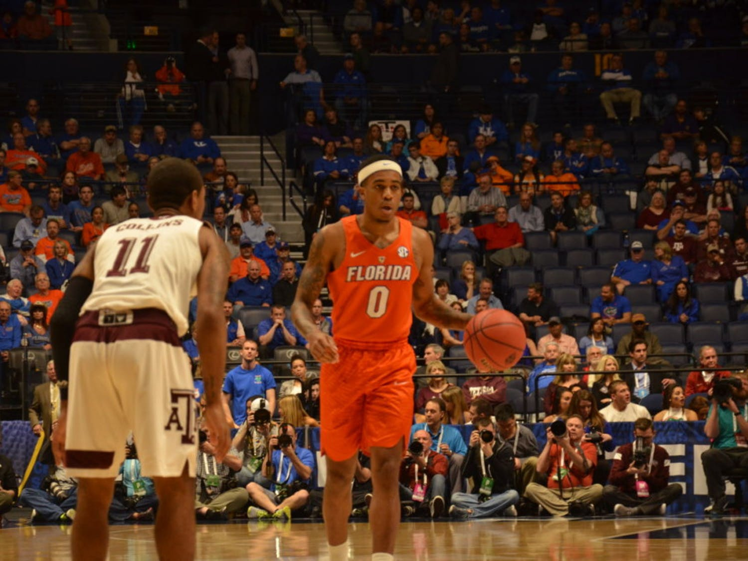 Kasey Hill dribbles the ball down the court during Florida's loss to Texas A&M in the quarterfinals of the SEC Tournament on March 11, 2016, in Nashville, Tennessee.
