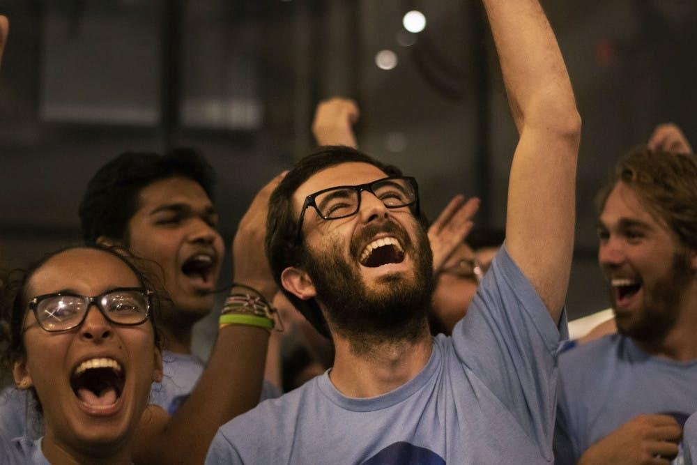 <p><span>Inspire President Zachary Amrose celebrates Wednesday night as Inspire won the majority of open seats.</span></p>