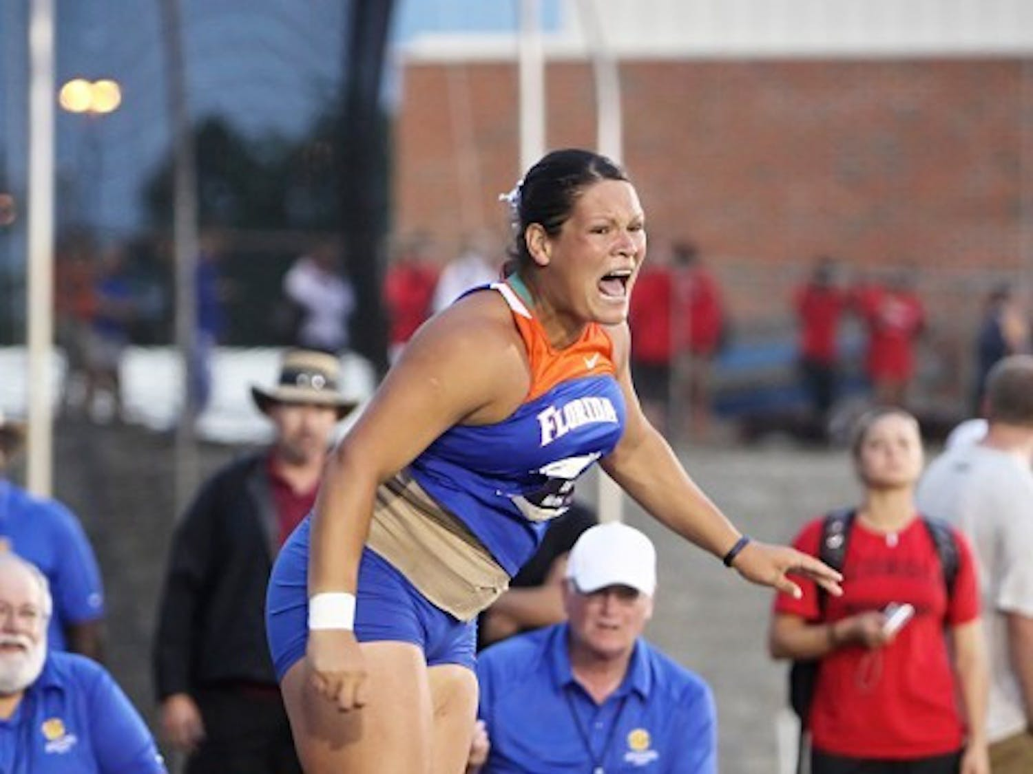 Florida track and field athlete Keely Medeiros tosses the shot put during the 2009 SEC Championships. She set a new personal best on Saturday.