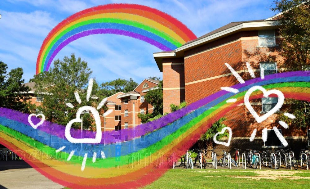 A picture of Springs Complex with a rainbow overlaid