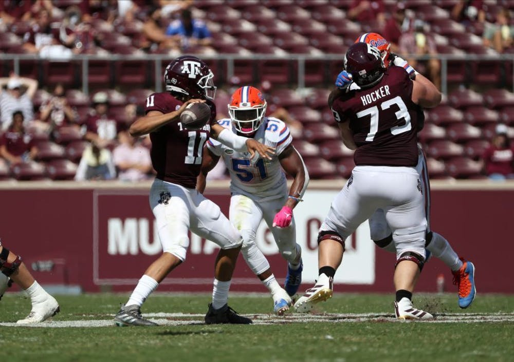 <p>Linebacker Ventrell Miller at Florida's game against Texas A&amp;M. According to ESPN's Bill Connelly, Florida is 75th out of 76 teams in success rate on defense.</p>
