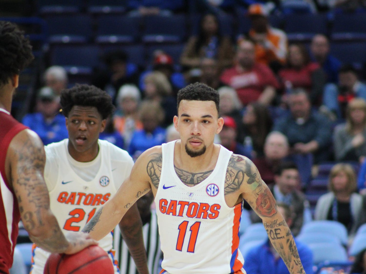 Guard Chris Chiozza dished out 11 assists while contributing eight points in Florida's first-round win over St. Bonaventure.