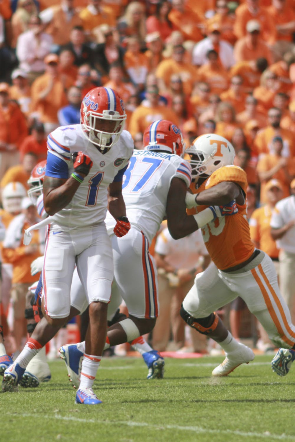 <p>Quinton Dunbar runs a route during Florida's 10-9 win against Tennessee on Saturday at Neyland Stadium.</p>