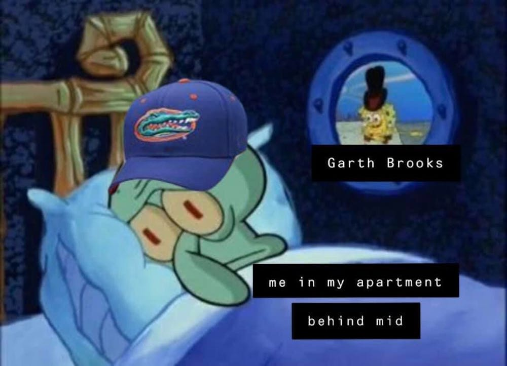 <p><span>Shannon Moriarty, a 20-year-old UF art history junior, created a SpongeBob SquarePants meme after hearing loud noise from the Garth Brooks concert and soundcheck.</span> She posted it on the Swampy memes for top 10 public teens Facebook group page.</p>