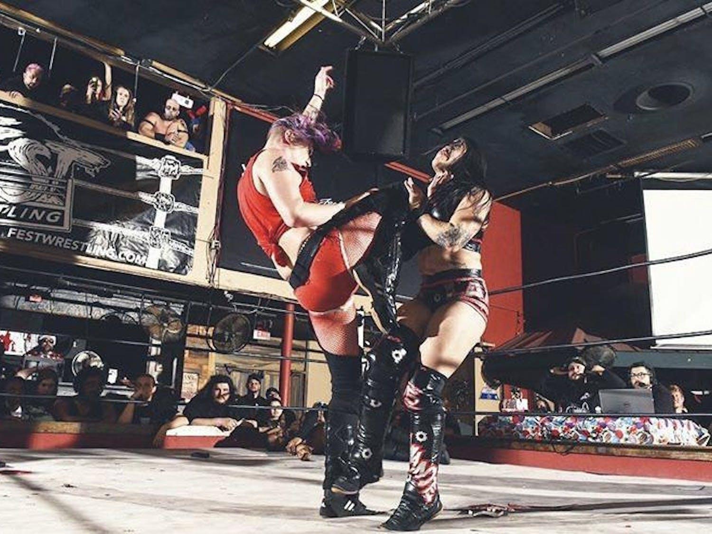 Jamie Senegal (left) wrestling in a FEST Wrestling event in December.