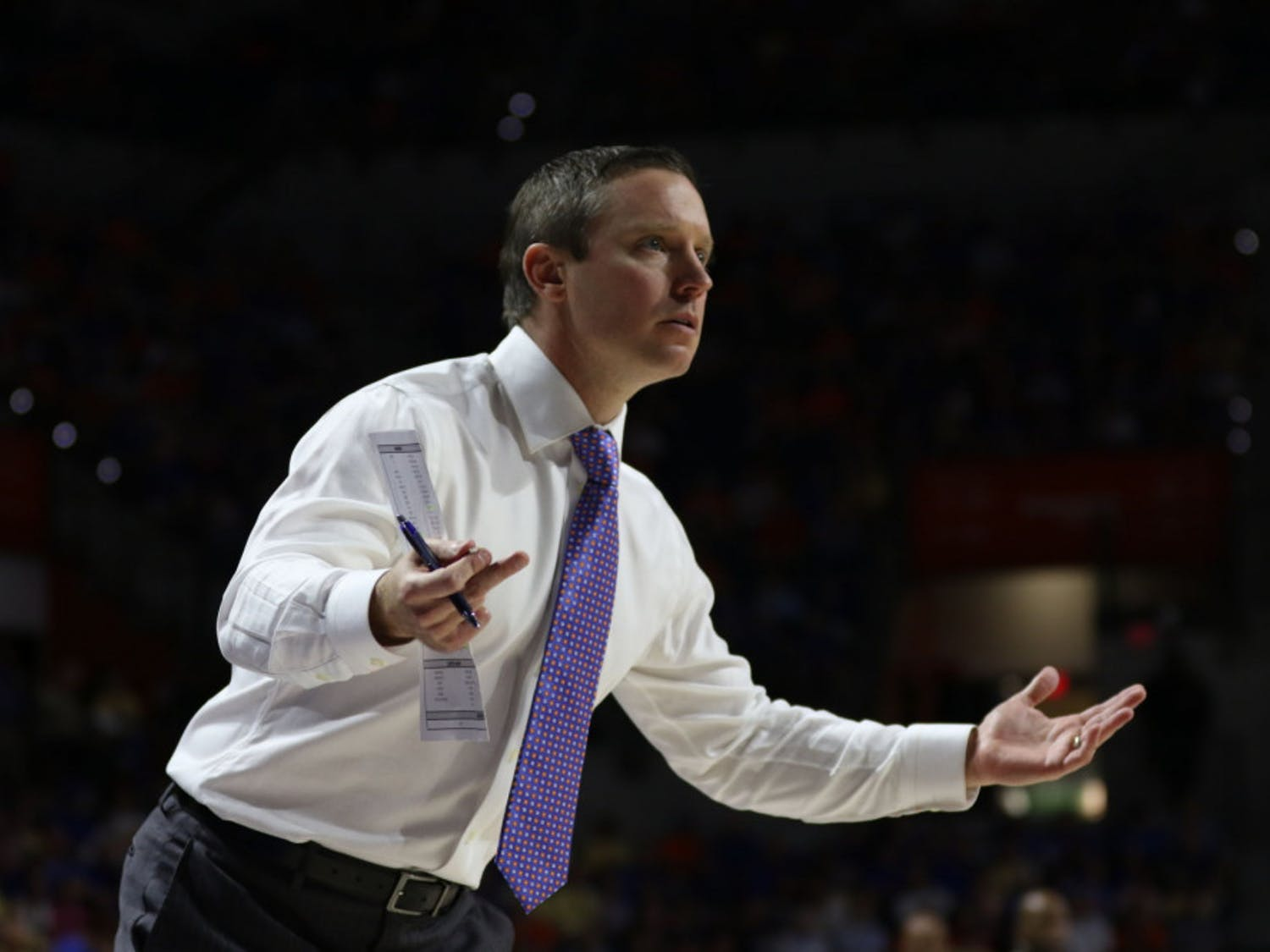Florida coach Mike White and the Gators lost their final three games of the regular season and finished 17-14. UF plays Arkansas in the SEC Tournament in Nashville, Tennessee, on Thursday.