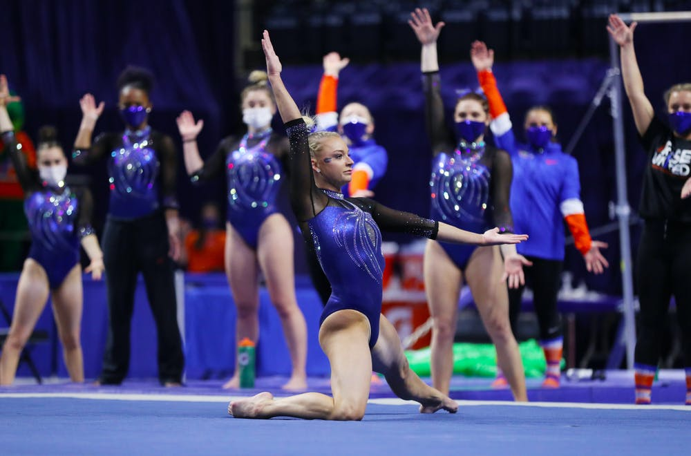 Florida gymnast Alyssa Baumann during the Gators' meet against the Georgia Bulldogs on Friday, January 15, 2021 at Exactech Arena at the Stephen C. O'Connell Center in Gainesville, FL / UAA Communications photo by Hannah White