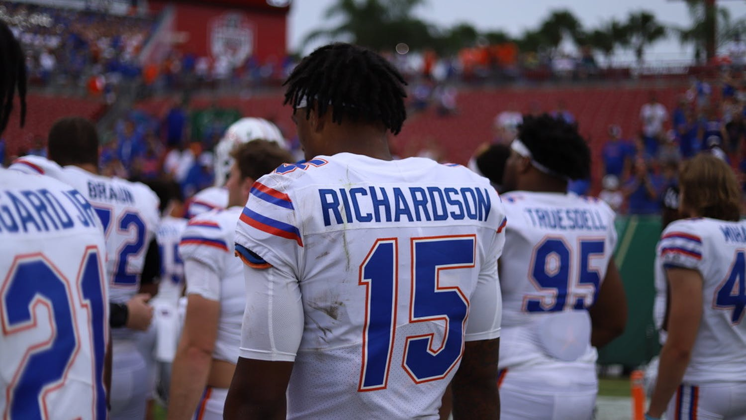 Florida's Anthony Richardson stands on the sideline during the Gators' Sept. 11 game against South Florida.