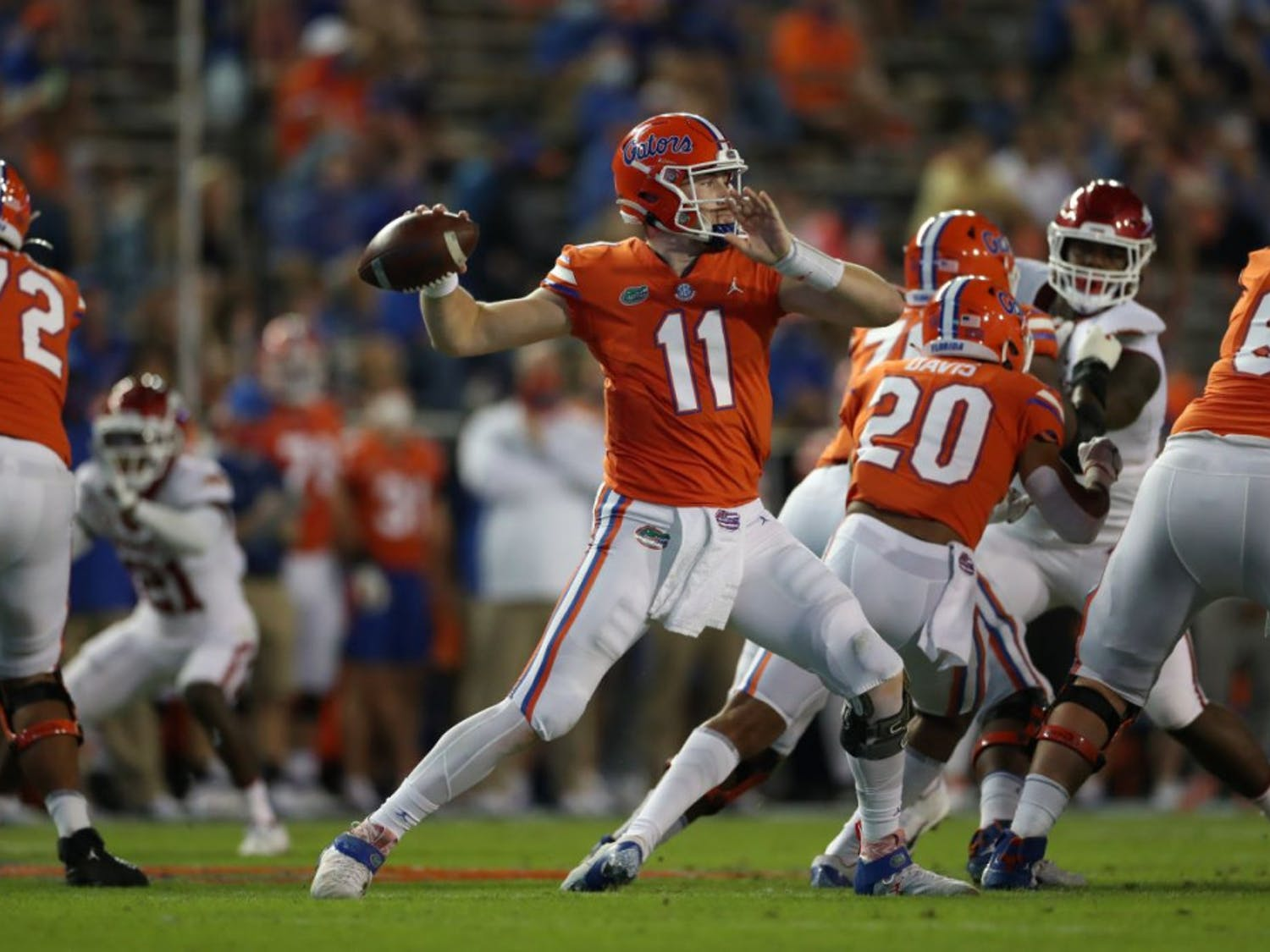Gators quarterback Kyle Trask winds up to throw the football during Florida's game versus Arkansas at Ben Hill Griffin Stadium on Nov. 14. After Saturday night's performance, many media members and Gators fans see Trask as the frontrunner for the 2020 Heisman Trophy award.