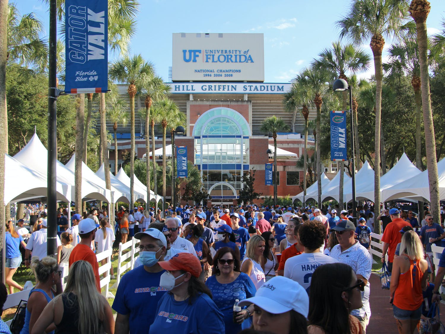 Fans gathered outside Ben Hill Griffin Stadium on Saturday, Sept. 4, 2021 for the first full-capacity home game since 2019.