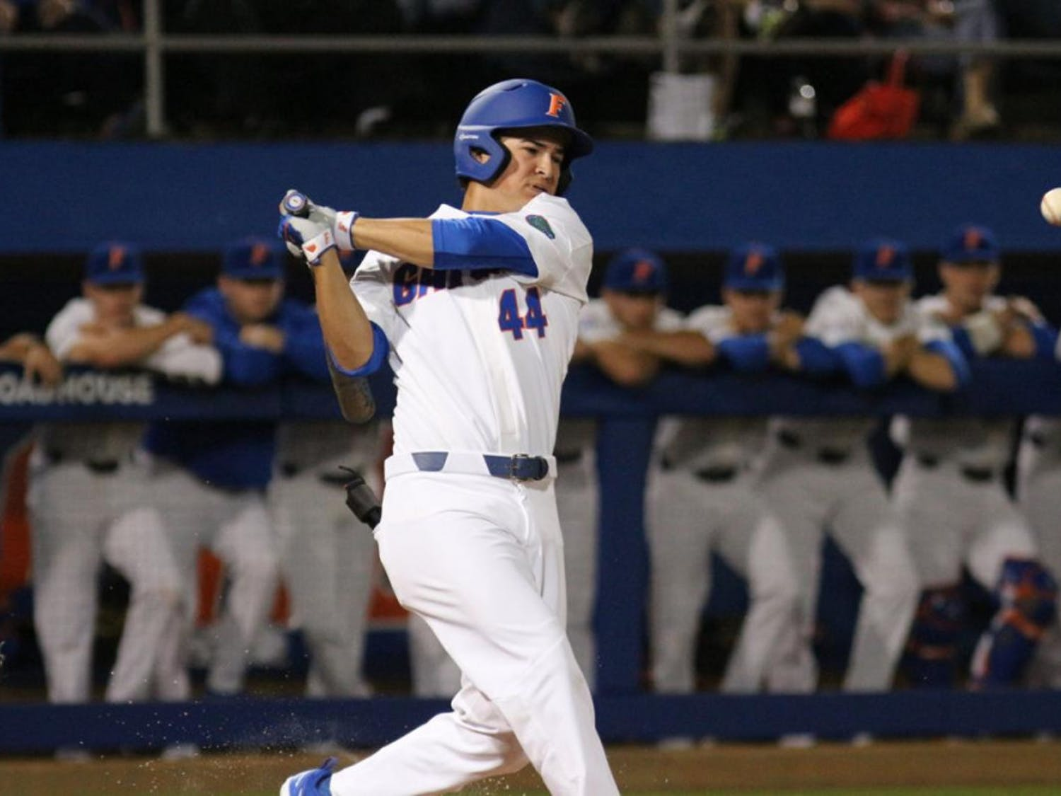 Left fielder Austin Langworthy's walk-off home run in UF's 3-2 win over Auburn in the bottom of the 11th inning sent Florida to the College World Series for the fourth-consecutive season.