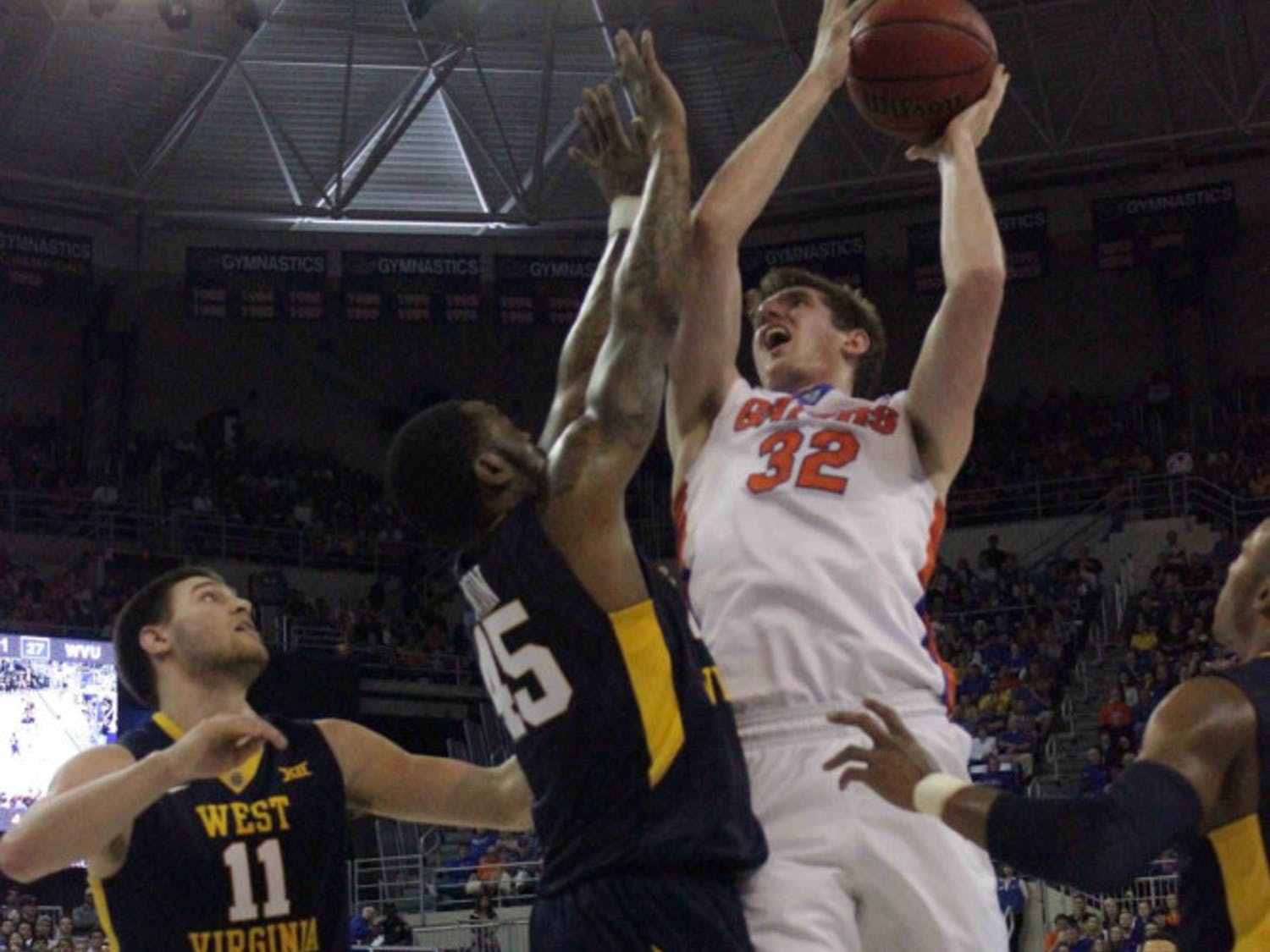 Schuyler Rimmer goes for a layup during Florida's win over West Virginia on Jan. 30, 2016, in the O'Connell Center.