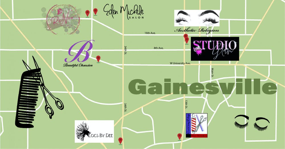 Graphic of Black-owned beauty and wellness businesses in Gainesville, FL.