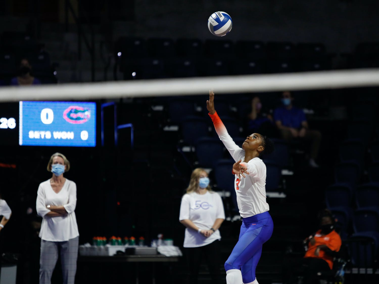 Florida's T'ara Ceasar readies to serve against Mississippi State on Sept. 24.