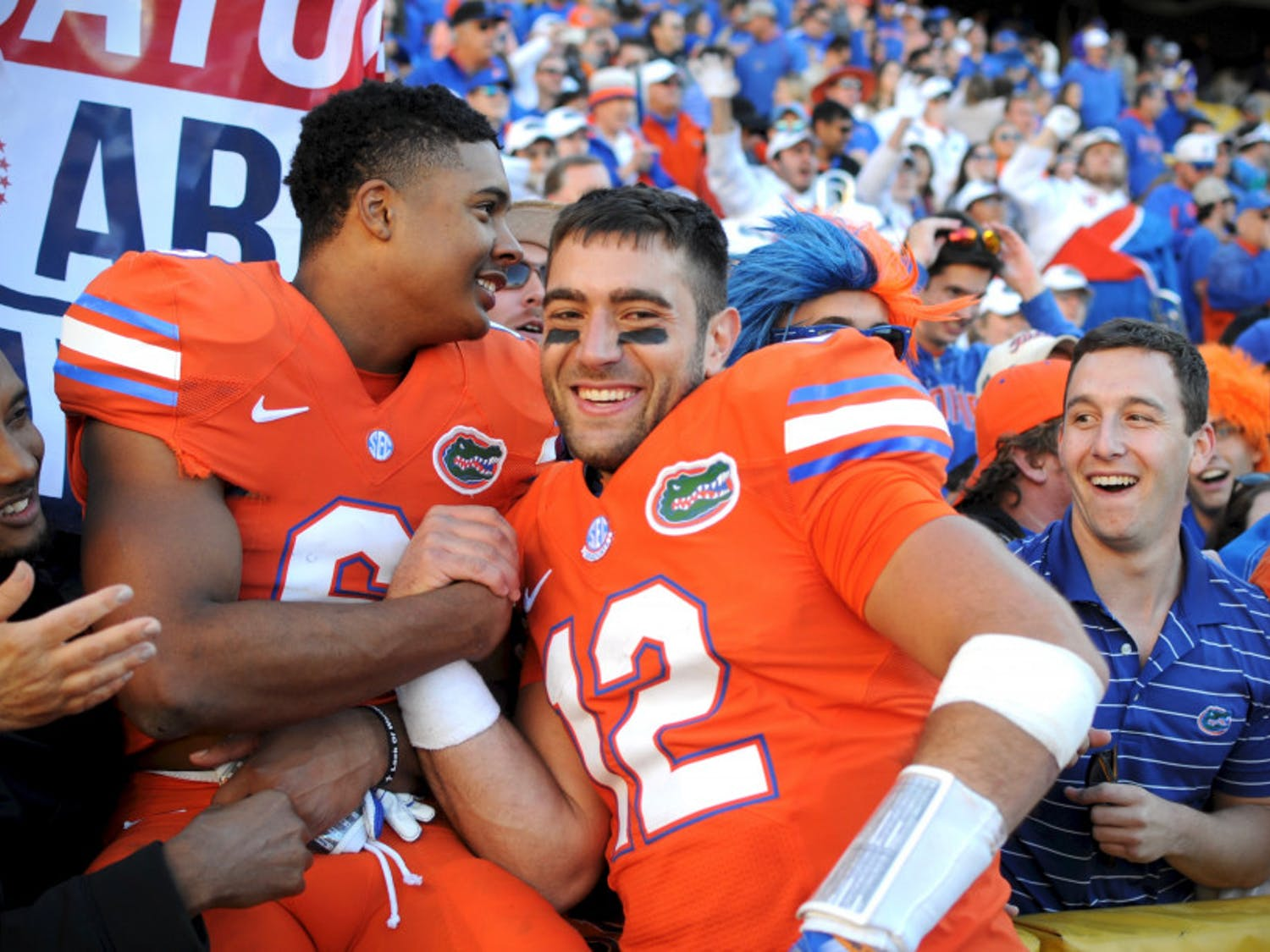 Austin Appleby, right, celebrates with Quincy Wilson after Florida's 16-10 win against LSU on Nov. 19, 2016, at Tiger Stadium in Baton Rouge, Louisiana.